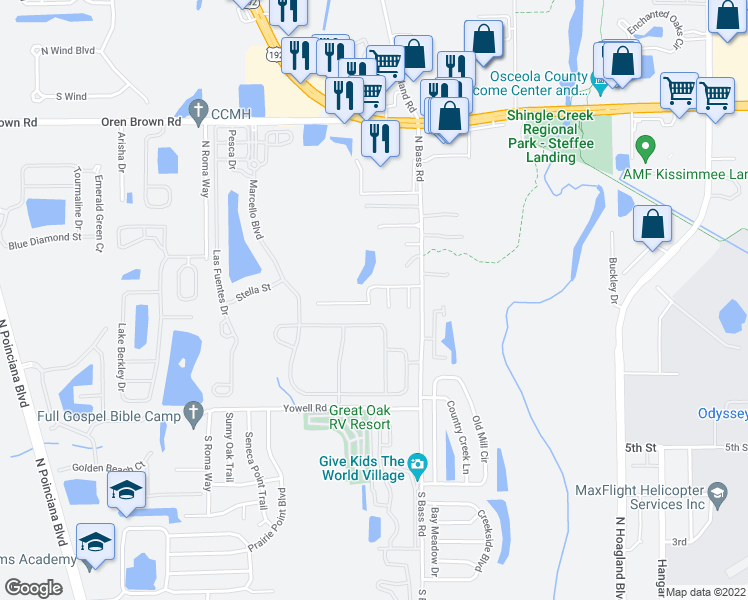 map of restaurants, bars, coffee shops, grocery stores, and more near 4432 Great Harbor Lane in Kissimmee