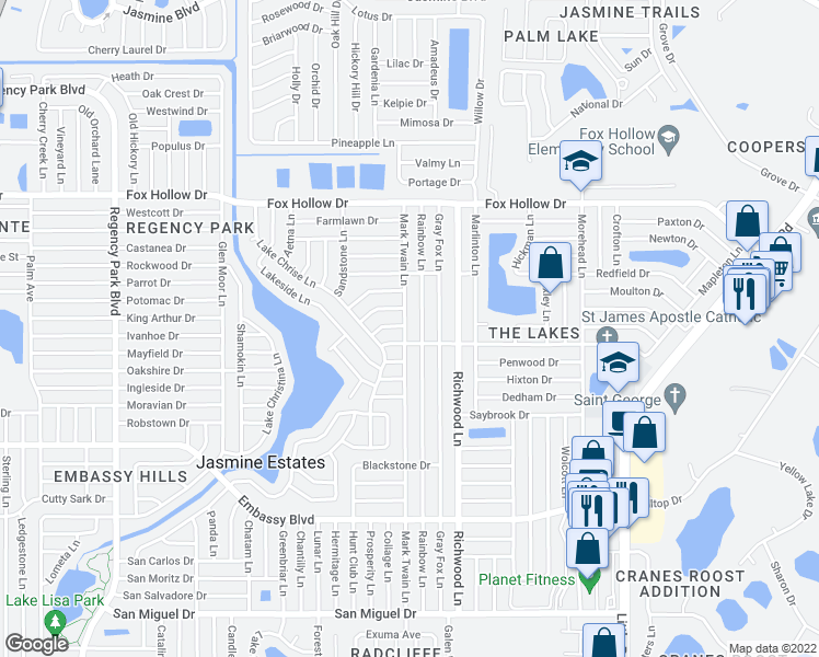 map of restaurants, bars, coffee shops, grocery stores, and more near 9636 Mark Twain Lane in Port Richey