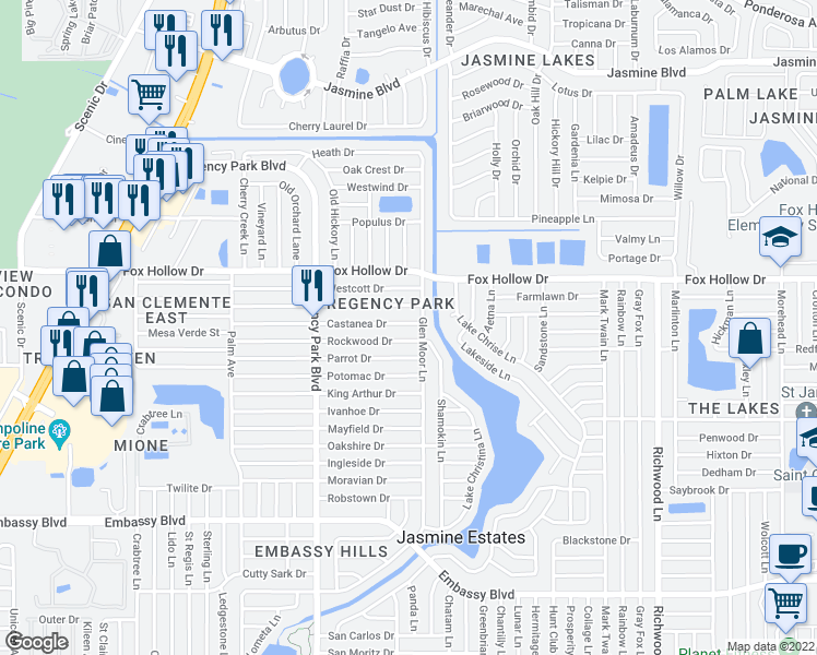 map of restaurants, bars, coffee shops, grocery stores, and more near 7410 Castanea Drive in Port Richey