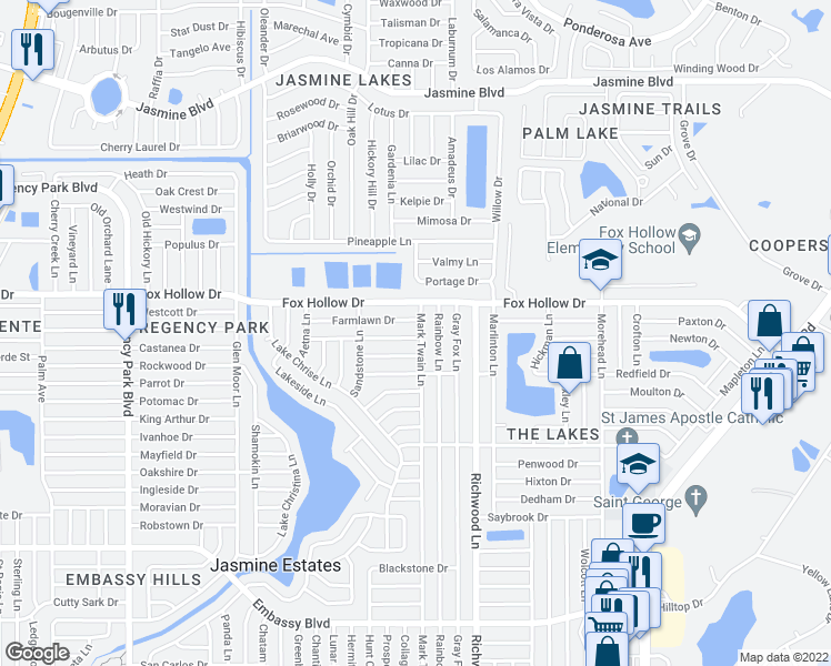 map of restaurants, bars, coffee shops, grocery stores, and more near 9700-9798 Mark Twain Lane in Port Richey