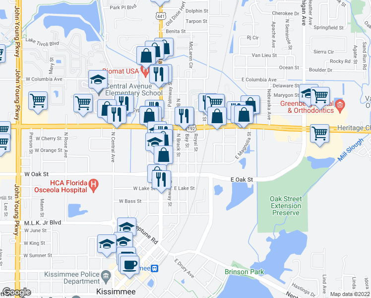 map of restaurants, bars, coffee shops, grocery stores, and more near 1204 Bay Street in Kissimmee