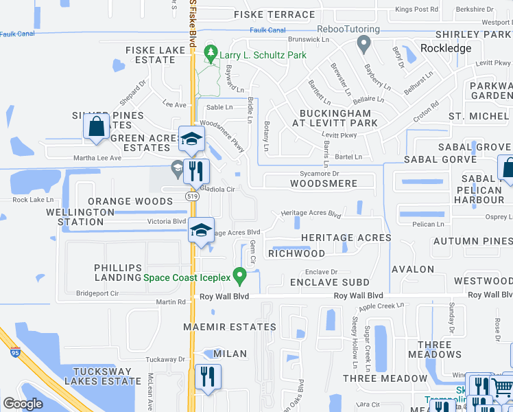map of restaurants, bars, coffee shops, grocery stores, and more near 889-895 Gladiola Circle in Rockledge