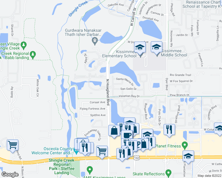 map of restaurants, bars, coffee shops, grocery stores, and more near 4000 Venetian Bay Drive in Kissimmee