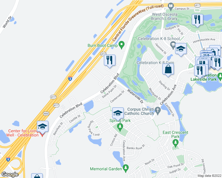 map of restaurants, bars, coffee shops, grocery stores, and more near 720 Siena Palm Drive in Kissimmee
