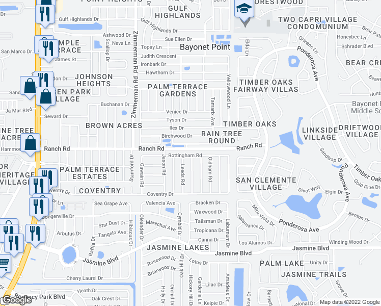 map of restaurants, bars, coffee shops, grocery stores, and more near 7735 Rottingham Road in Port Richey