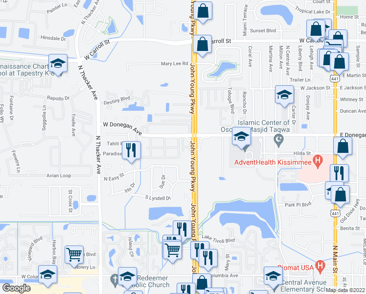 map of restaurants, bars, coffee shops, grocery stores, and more near 2112 Summerfield Way in Kissimmee