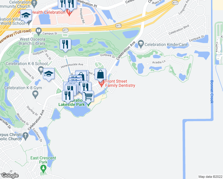 map of restaurants, bars, coffee shops, grocery stores, and more near 513 Mirasol Circle in Kissimmee
