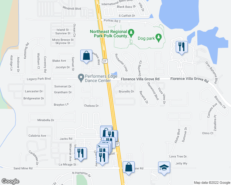 map of restaurants, bars, coffee shops, grocery stores, and more near 954 Brunello Drive in Davenport