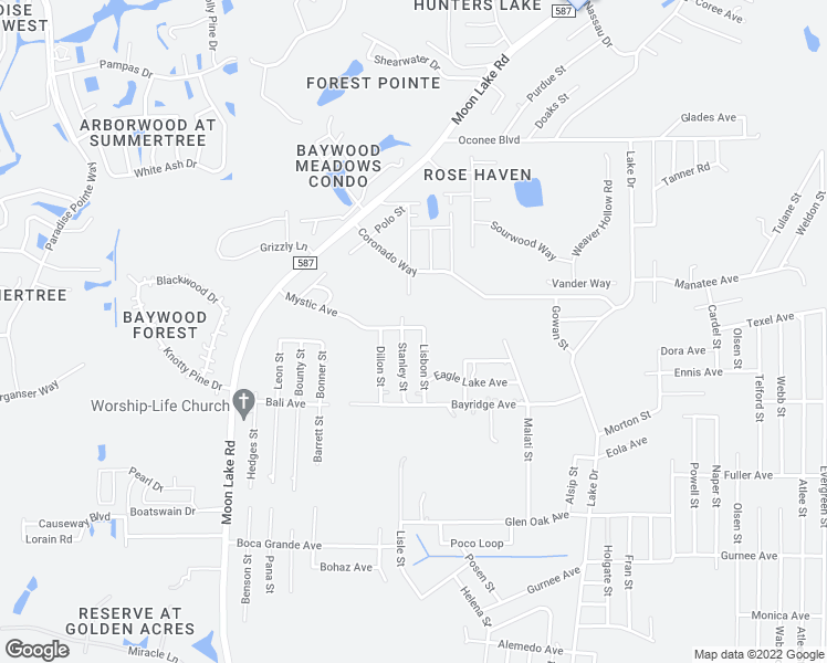 map of restaurants, bars, coffee shops, grocery stores, and more near 12230 Mystic Avenue in New Port Richey