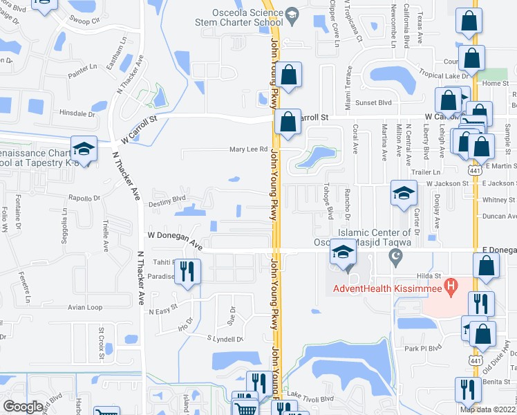 map of restaurants, bars, coffee shops, grocery stores, and more near 1260 Sago Palms Boulevard in Kissimmee