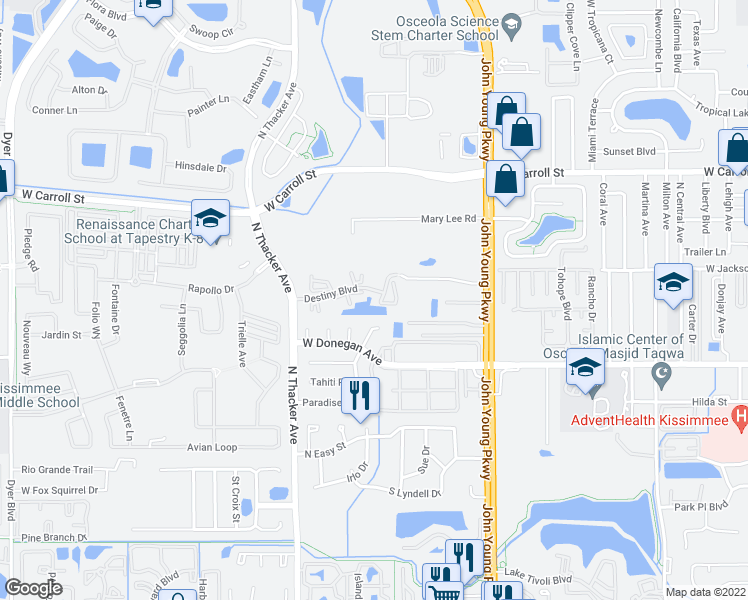 map of restaurants, bars, coffee shops, grocery stores, and more near 1704 Destiny Boulevard in Kissimmee