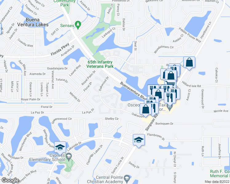 map of restaurants, bars, coffee shops, grocery stores, and more near 20 Las Brisas Way in Kissimmee