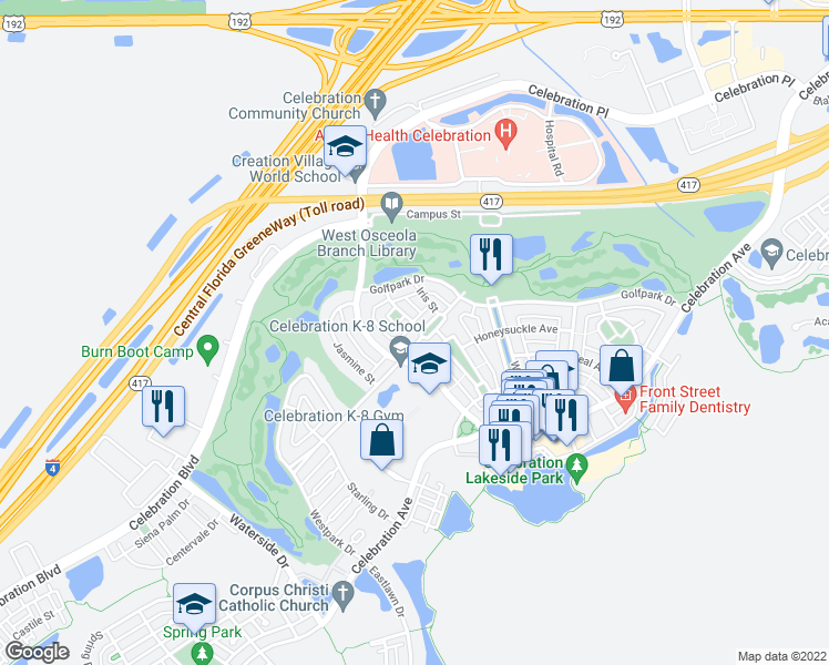 map of restaurants, bars, coffee shops, grocery stores, and more near 414 Greenbrier Avenue in Kissimmee