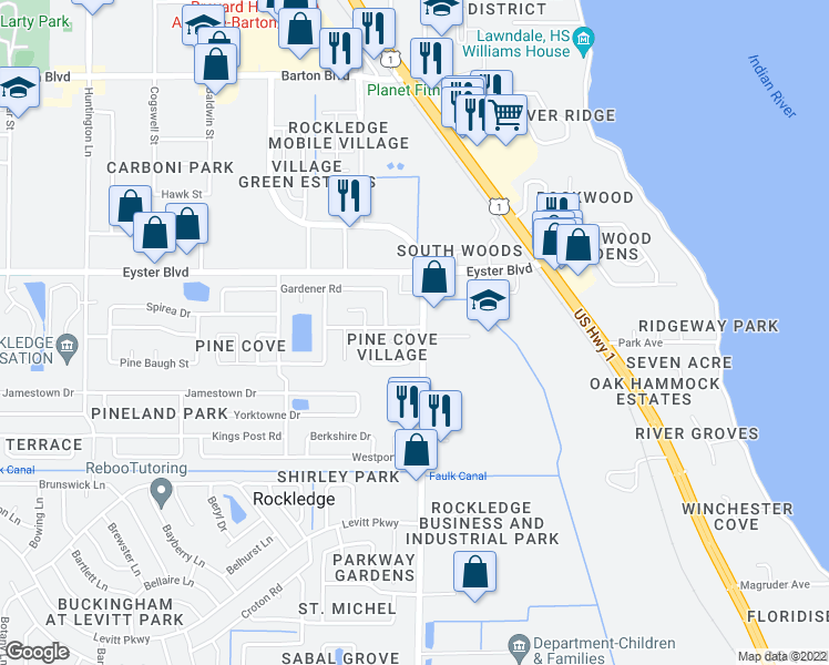 map of restaurants, bars, coffee shops, grocery stores, and more near 702 White Pine Avenue in Rockledge