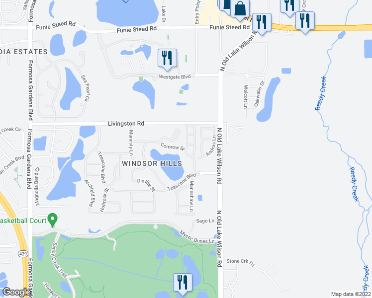 map of restaurants, bars, coffee shops, grocery stores, and more near 2821 Almaton Loop in Kissimmee
