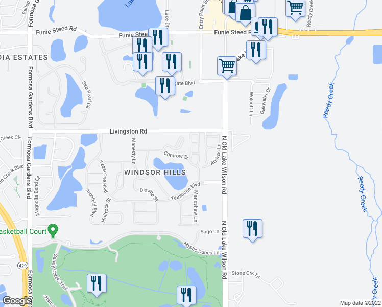 map of restaurants, bars, coffee shops, grocery stores, and more near 2388 Almaton Loop in Kissimmee