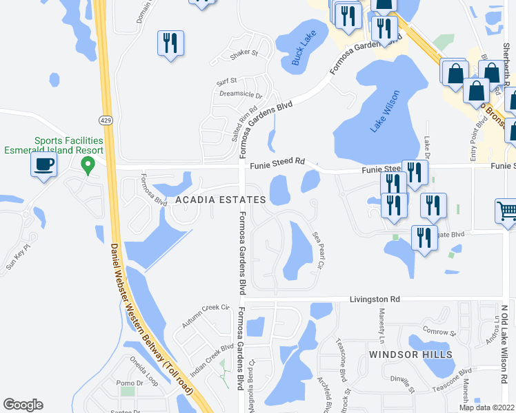 map of restaurants, bars, coffee shops, grocery stores, and more near 2809 Spinning Silk Court in Kissimmee