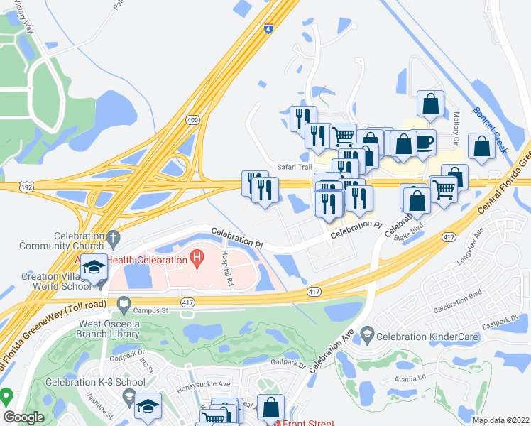 map of restaurants, bars, coffee shops, grocery stores, and more near 225 Celebration Boulevard in Kissimmee