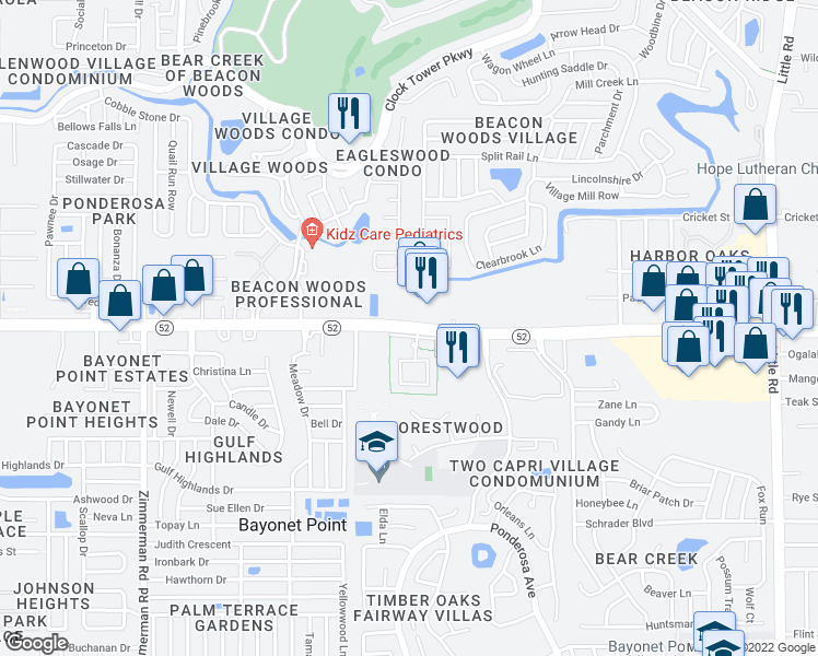 map of restaurants, bars, coffee shops, grocery stores, and more near Woodridge Court in Port Richey