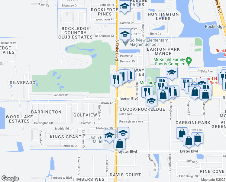 map of restaurants, bars, coffee shops, grocery stores, and more near 1675 South Fiske Boulevard in Rockledge