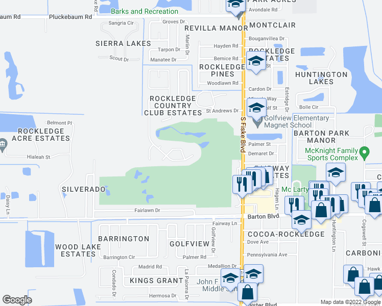 map of restaurants, bars, coffee shops, grocery stores, and more near 1423 Gleneagles Way in Rockledge