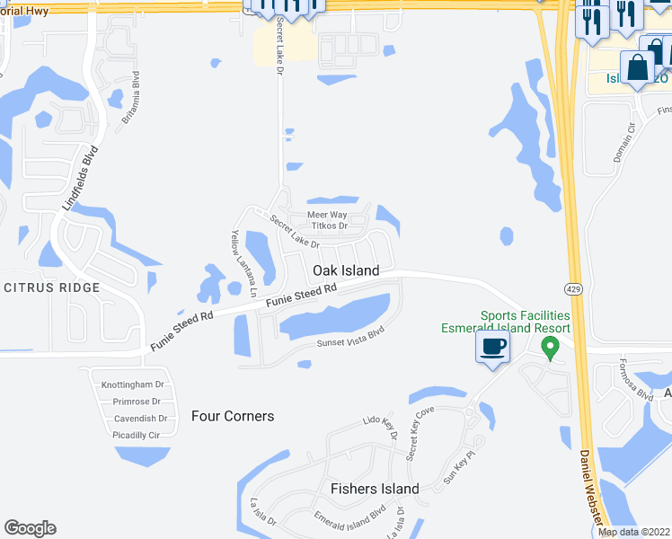 map of restaurants, bars, coffee shops, grocery stores, and more near 3012 White Orchid Road in Kissimmee