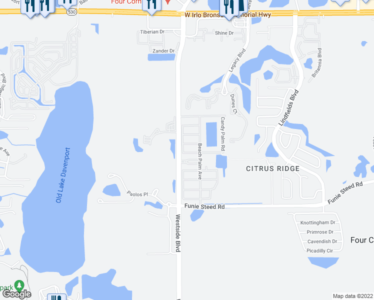 map of restaurants, bars, coffee shops, grocery stores, and more near 8975 Candy Palm Road in Kissimmee