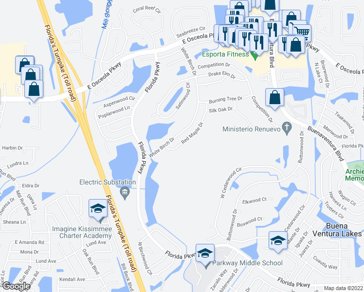 map of restaurants, bars, coffee shops, grocery stores, and more near 214 Red Maple Drive in Kissimmee