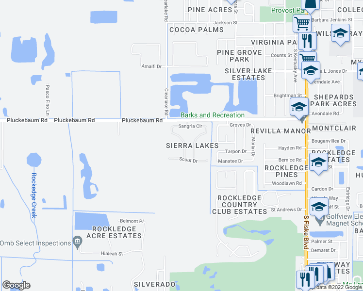 map of restaurants, bars, coffee shops, grocery stores, and more near 1325 Sangria Circle in Rockledge