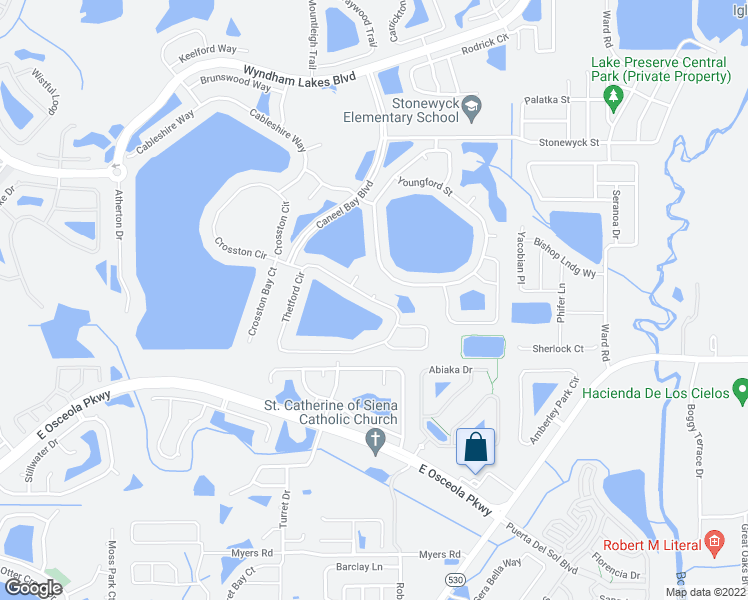 map of restaurants, bars, coffee shops, grocery stores, and more near 1766 Thetford Circle in Orlando