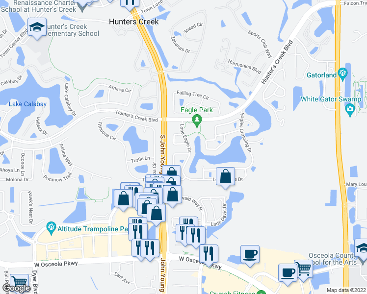map of restaurants, bars, coffee shops, grocery stores, and more near 3066 Eaglet Loop in Orlando