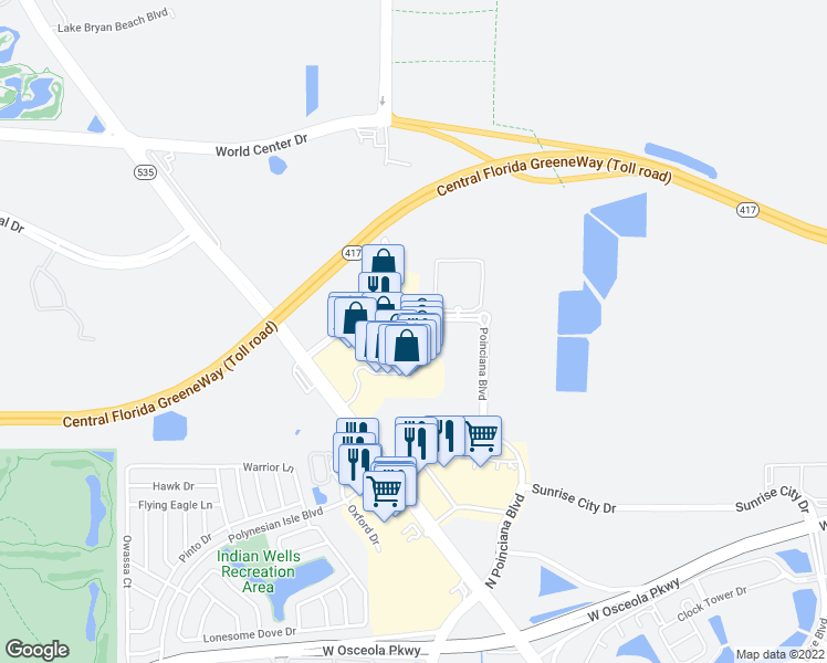 map of restaurants, bars, coffee shops, grocery stores, and more near 8000 Poinciana Boulevard in Orlando