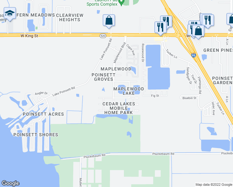 map of restaurants, bars, coffee shops, grocery stores, and more near 370 Maplewood Boulevard in Cocoa