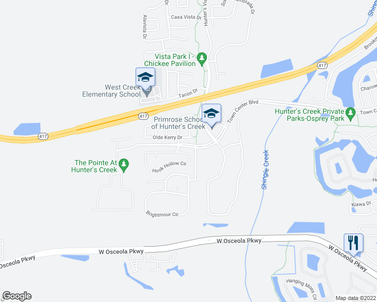 map of restaurants, bars, coffee shops, grocery stores, and more near 4916 Hook Hollow Circle in Orlando