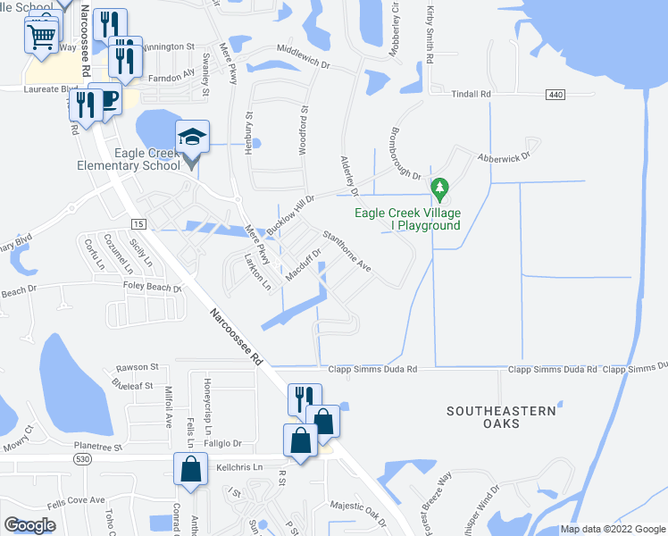 map of restaurants, bars, coffee shops, grocery stores, and more near 10424 Winwick Lane in Orlando