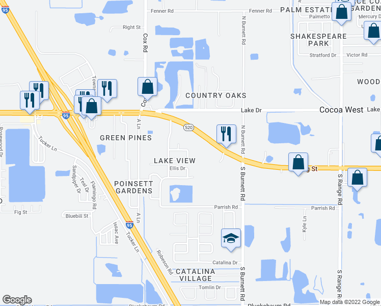 map of restaurants, bars, coffee shops, grocery stores, and more near 3815 East Denton Circle in Cocoa