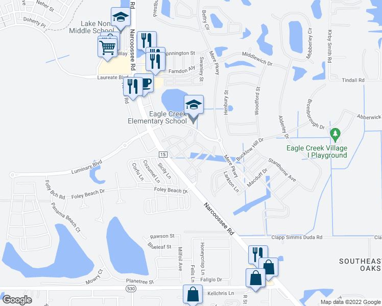 map of restaurants, bars, coffee shops, grocery stores, and more near 9800 Sanctuary Approach Road in Orlando
