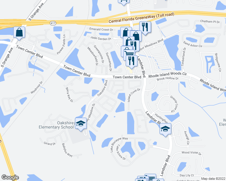 map of restaurants, bars, coffee shops, grocery stores, and more near 14241 Crystal Key Place in Orlando