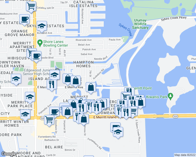 map of restaurants, bars, coffee shops, grocery stores, and more near 820 Del Rio Way in Merritt Island