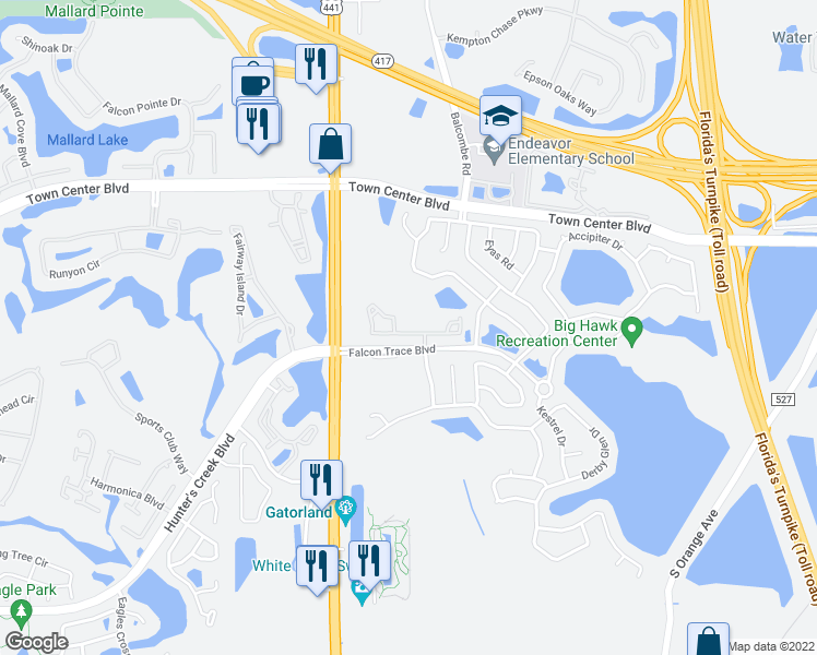 map of restaurants, bars, coffee shops, grocery stores, and more near 1635 Peregrine Falcons Way in Orlando