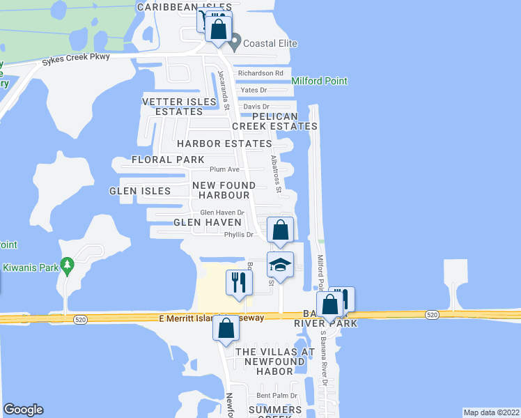 map of restaurants, bars, coffee shops, grocery stores, and more near 370 North Banana River Drive in Merritt Island