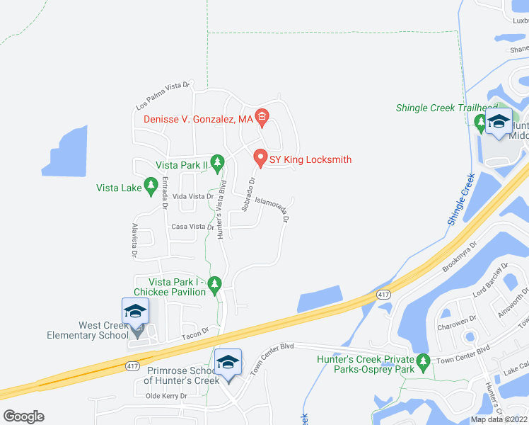 map of restaurants, bars, coffee shops, grocery stores, and more near 14017 Sierra Vista Drive in Orlando