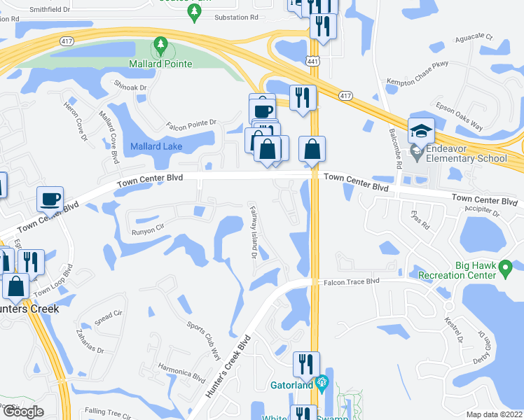 map of restaurants, bars, coffee shops, grocery stores, and more near 14001 Fairway Island Drive in Orlando