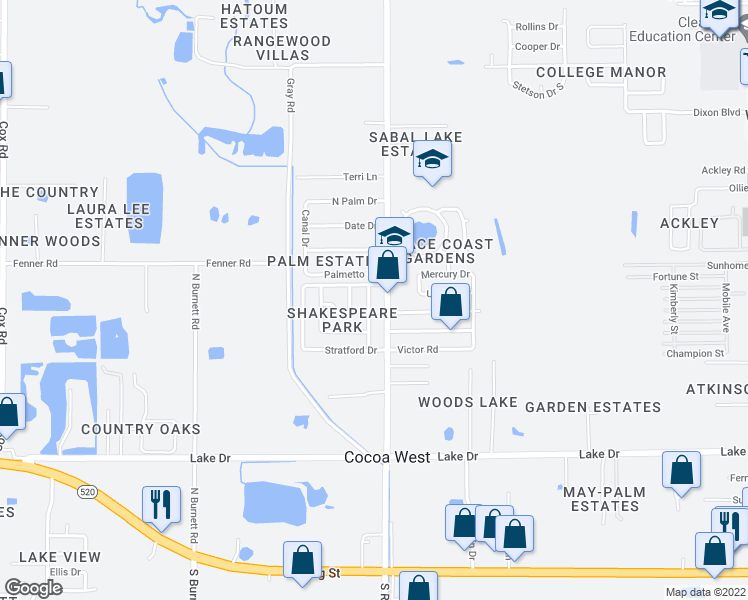 map of restaurants, bars, coffee shops, grocery stores, and more near 664 Bacon Street in Cocoa
