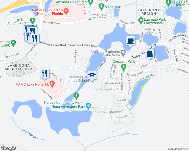 map of restaurants, bars, coffee shops, grocery stores, and more near 13873 Benavente Avenue in Orlando