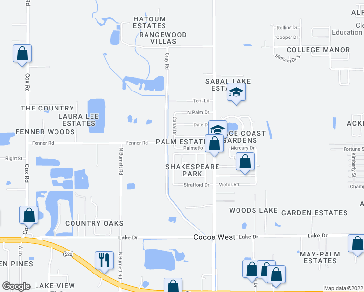map of restaurants, bars, coffee shops, grocery stores, and more near 2544 Palmetto Drive in Cocoa