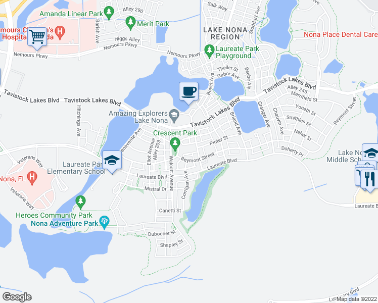 map of restaurants, bars, coffee shops, grocery stores, and more near 8461 Greider Way in Orlando