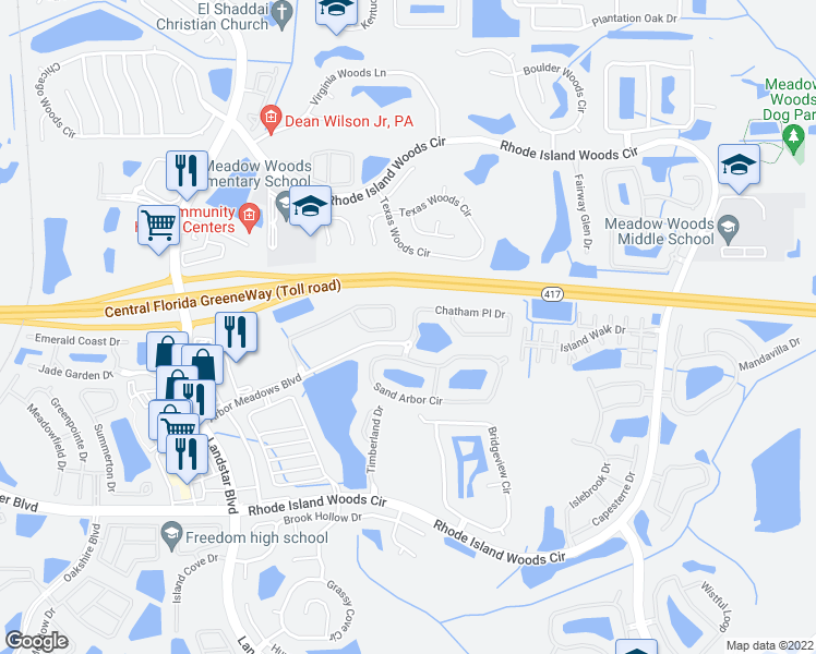 map of restaurants, bars, coffee shops, grocery stores, and more near 1807 Chatham Place Drive in Orlando