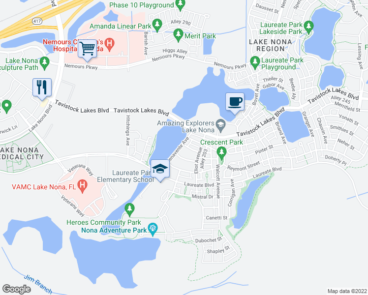 map of restaurants, bars, coffee shops, grocery stores, and more near 13759 Benavente Avenue in Orlando