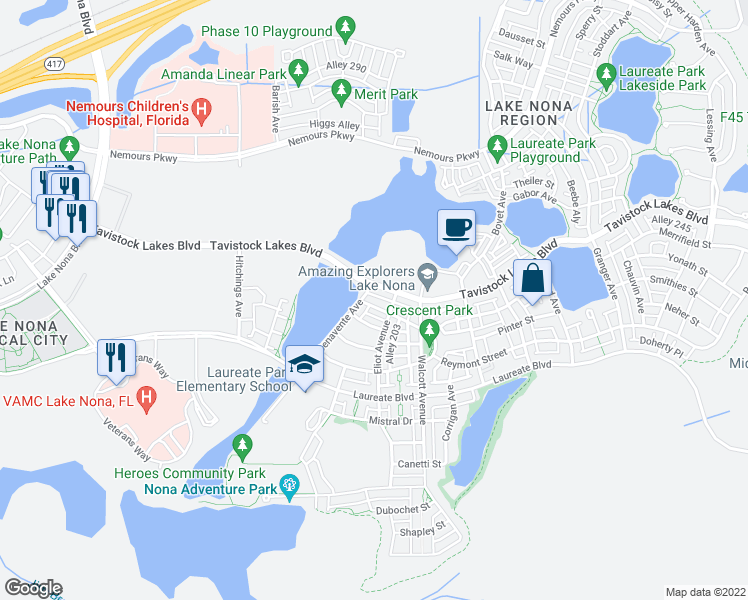 map of restaurants, bars, coffee shops, grocery stores, and more near 8083 Upper Perse Circle in Orlando